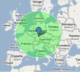 how to add radius on google map